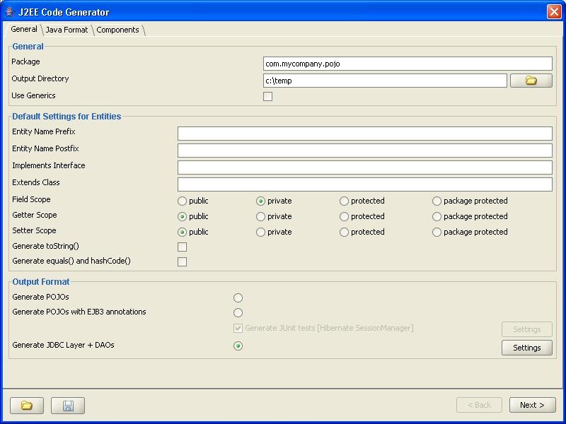 J2EE Code Generator