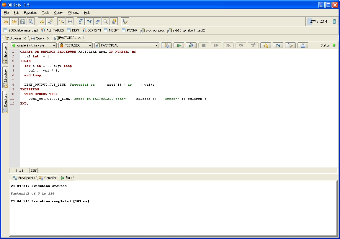DB Solo Help - Oracle Procedure Editor and Debugger
