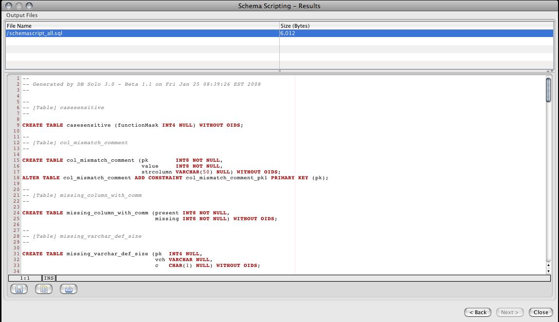 DB Solo Help - Schema Scripting Tool