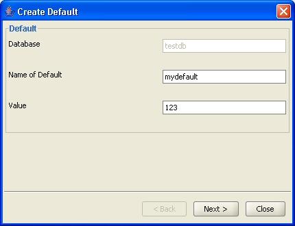 create  default